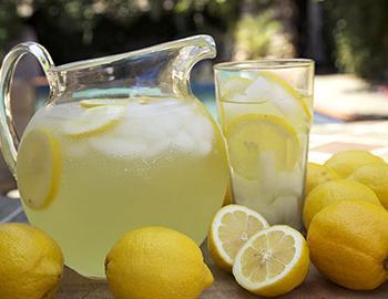 Fresh lemonade in a pitcher