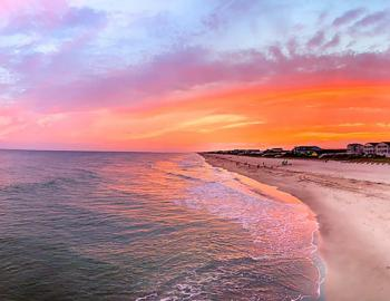 Beautiful colorful sunset on Holden Beach