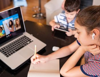 kids distance learning with laptop