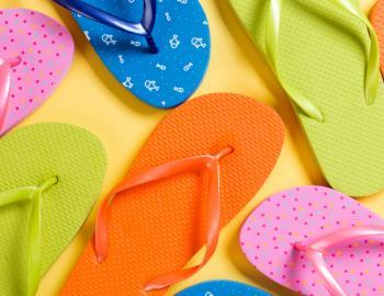 colored flip flop sandals