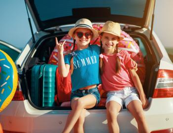 girls on a beach road trip