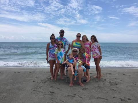 Family wearing tie dye on Holden Beach