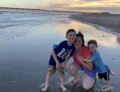 Mom and two sons on Holden Beach