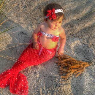 Little girl dressed up like a mermaid