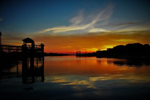 Beautiful sunset with bright colors in Holden Beach