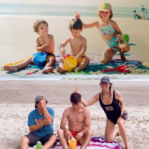 Family on Holden Beach with comparison photo 20 years later