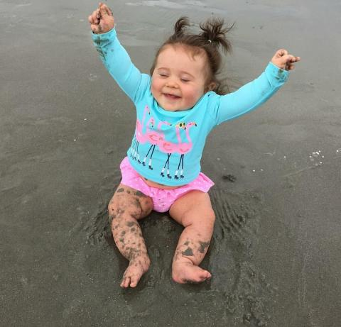 toddler at holden beach in the sand