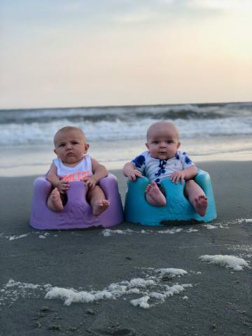Twin babies on Holden Beach