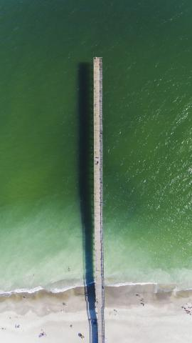 Ariel view of the pier at Holden Beach