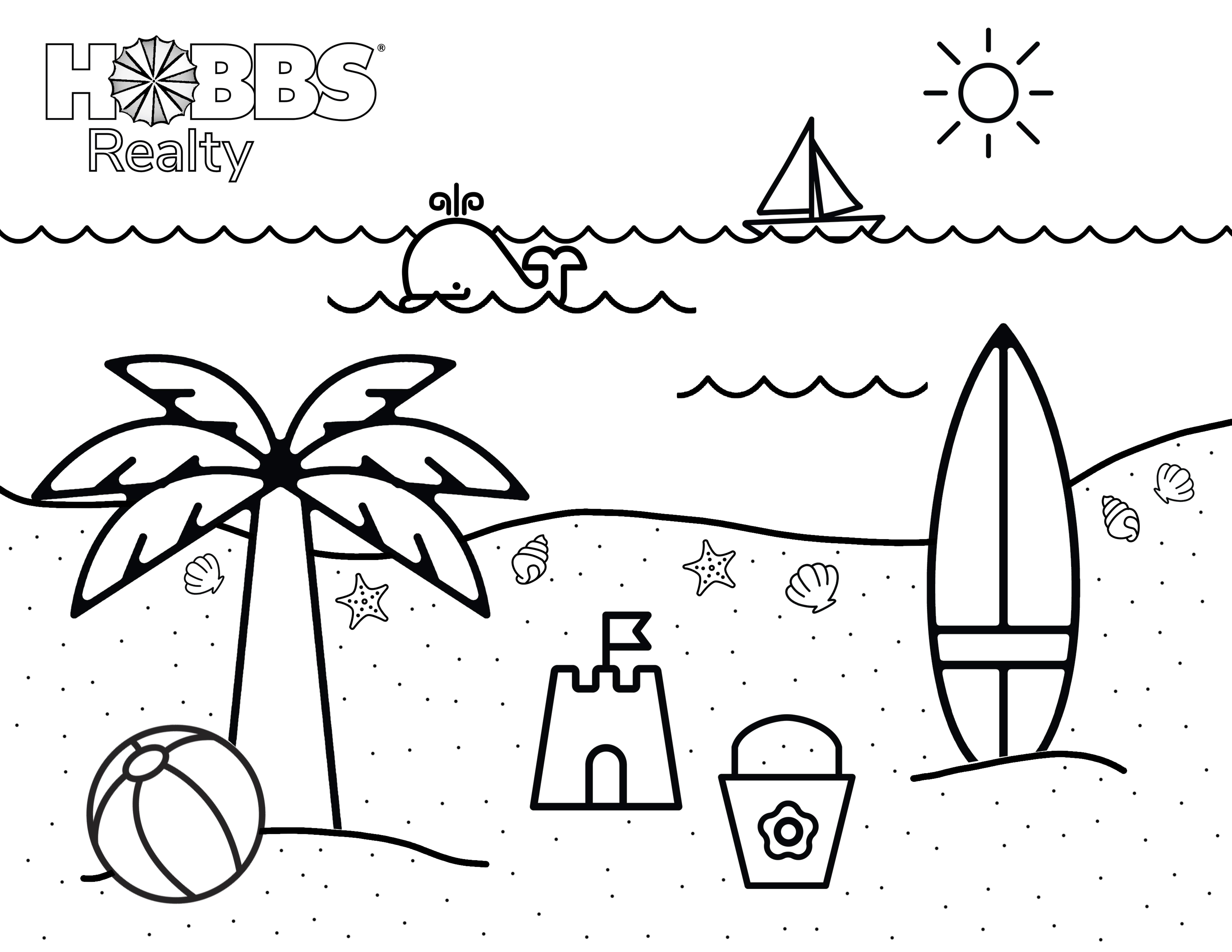 Beach Coloring Pages For Preschool - Coloring Home | 6800x8800