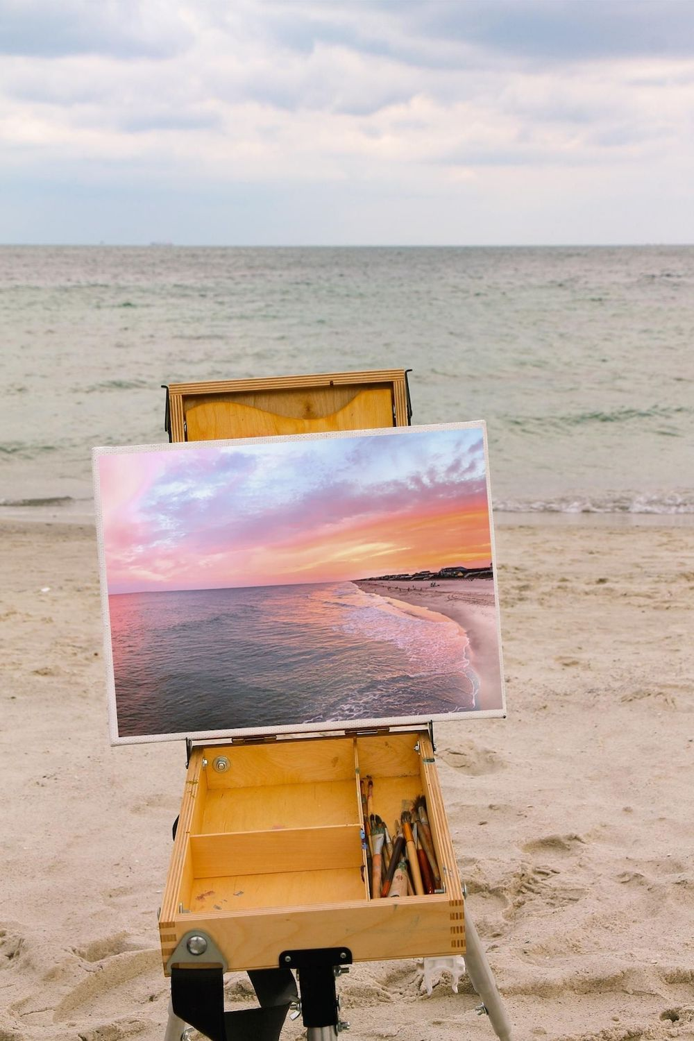 Painting of Holden Beach Sunset on Easel