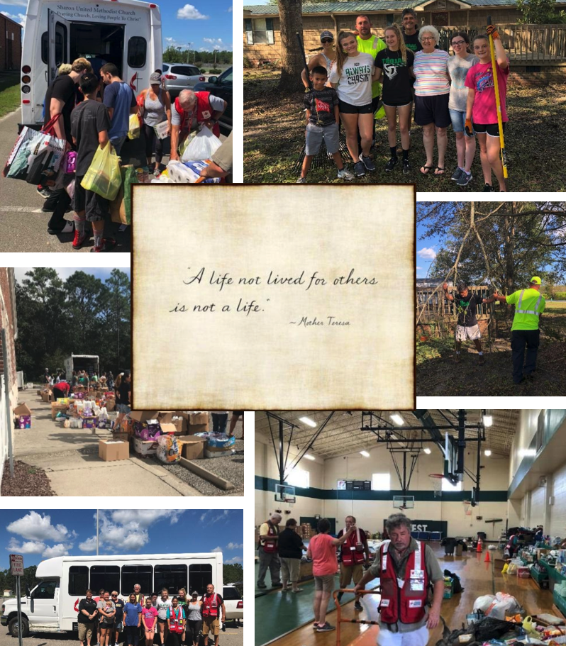 volunteering after hurricane florence collage